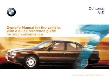 Owner's Manual for the vehicle. With a quick reference ... - E38.org