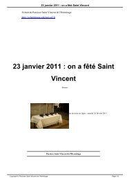 23 janvier 2011 : on a fêté Saint Vincent - Paroisse Saint Vincent de ...