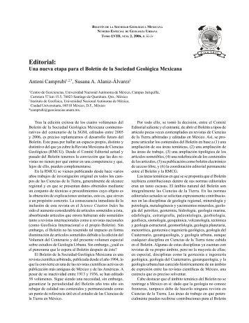 Editorial - Boletín de la Sociedad Geológica Mexicana - Universidad ...