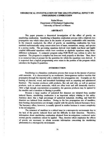 SMOLDERING COMBUSTION - Hawai'i Space Grant Consortium