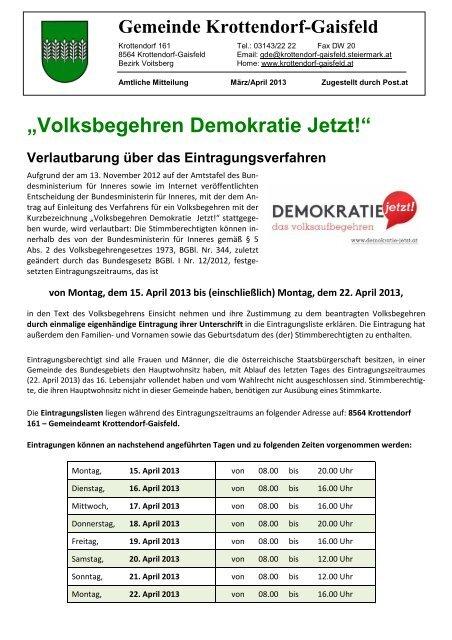 Amtliche Mitteilung März-April 2013 - Gemeinde Krottendorf-Gaisfeld