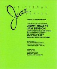 JIMMY MAZZY'S JAM SESSION - University of New Hampshire