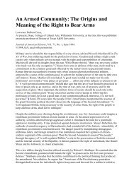 an armed community the origins and meaning of the right to bear arms,