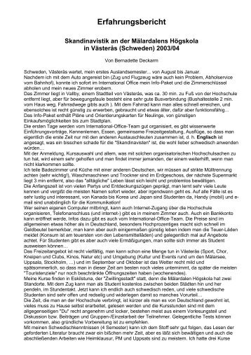 Erfahrungsbericht Skandinavistik an der Mälardalens Högskola in ...