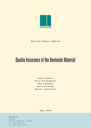 Quality Assurance of the Bentonite Material (pdf) (1.7 MB) - Posiva