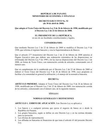 Ley Bancaria - Superintendencia de Bancos Panamá