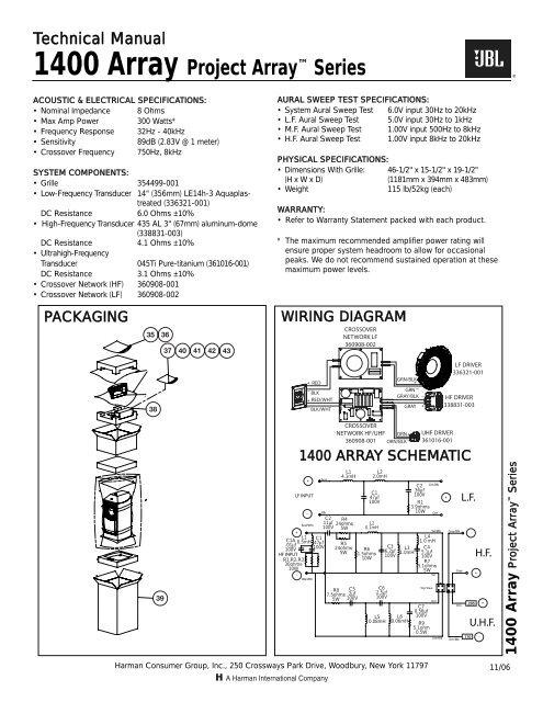 1400 Array Technical Specs - JBL Synthesis on