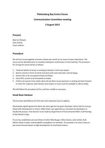 Plettenberg Bay Enviro Forum Communication Committee meeting 2 ...