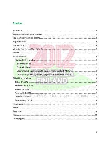 Vapaaehtoisten tietopaketti - WMA 2012 in Jyväskylä