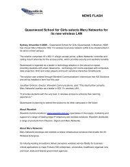 Queenwood School chooses Meru WLAN 2009-11-06 - Wavelink