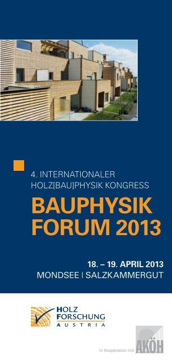 BAuphysik Forum 2013 - proHolz Tirol