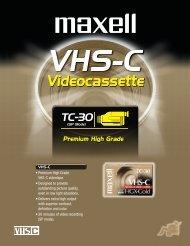 • Premium High Grade VHS-C videotape ... - Maxell Canada