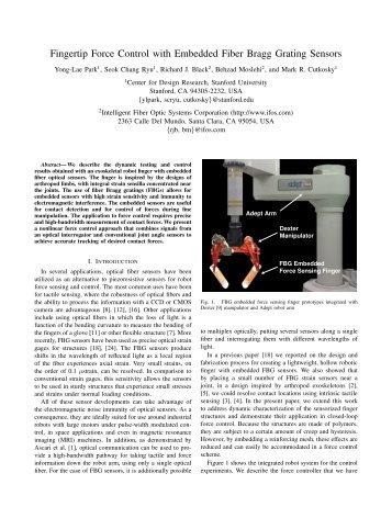 Fingertip Force Control with Embedded Fiber Bragg Grating Sensors