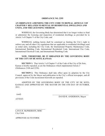 1 ordinance no. 2295 an ordinance amending the city code to repeal ...