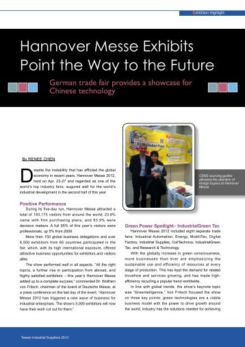 Hannover Messe Exhibits Point the Way to the Future - CENS eBook