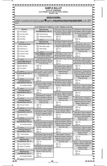 General Election Sample Ballot - Rutherford County, Tennessee