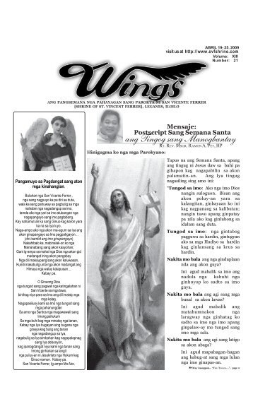 Wings Abril 19- 25, 2009 - Parokya ni San Vicente Ferrer ...