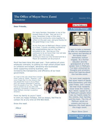 Mayor Zanni's Newsletter - December 2012 - Methuen