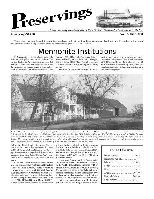Mennonite Insutions - Plett Foundation on