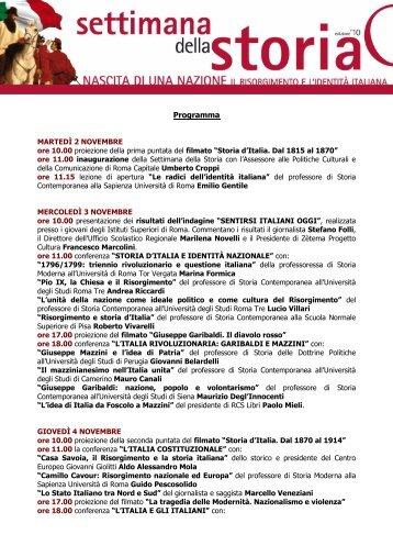 Programma Settimana della Storia 2010 - Museo dell'Ara Pacis