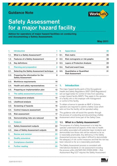 Safety Assessment For A Major Hazard Facility Worksafe Victoria