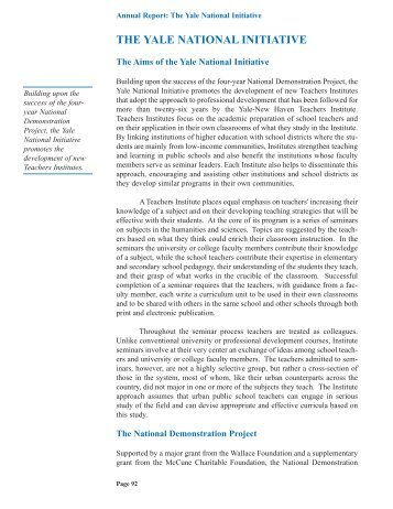 Annual Report - 2003 (full report) - Yale National Initiative
