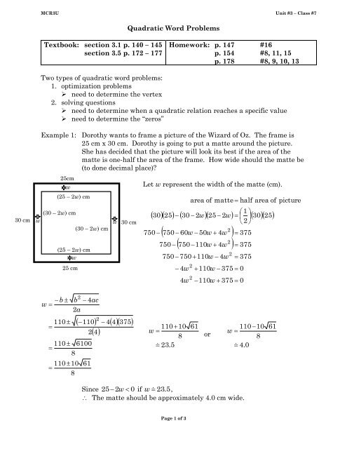 MCR3U unit #3 class #7 Quadratic Word Problems pdf - Cordick