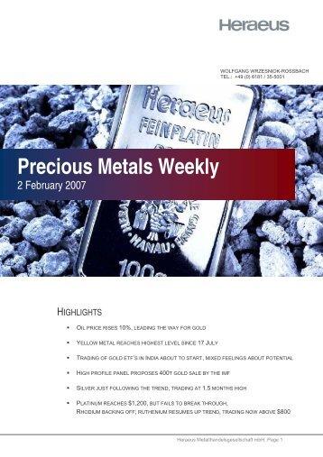 Precious Metals Weekly
