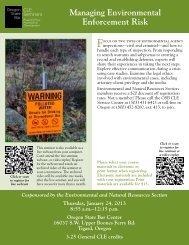 Managing Environmental Enforcement Risk - Oregon State Bar CLE ...