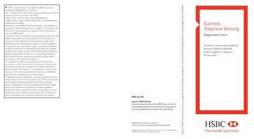 BTB Primary User Registration Form (PDF) - Business banking - HSBC