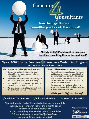 Coaching 4 Consultants Mastermind program - Plus Delta Consulting