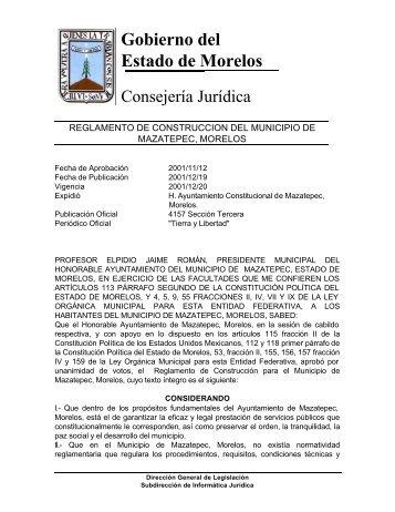 Reglamento de construcción - transparenciamorelos.mx