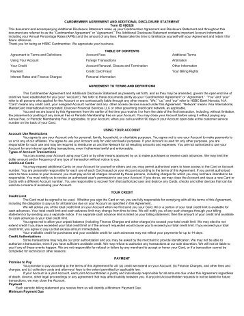 CARDMEMBER AGREEMENT AND ADDITIONAL DISCLOSURE ...