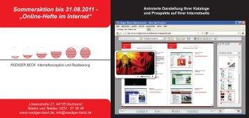 Sommeraktion bis 31.08.2011 - Rüdiger Beck Internetkonzeption ...