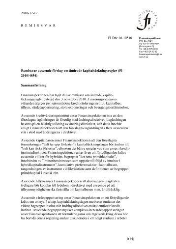 Remissvar på förslag om ändrade kapitaltäckningsregler