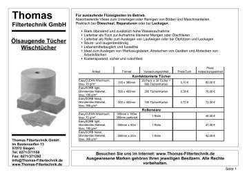 Ölsaugende Tücher Wischtücher - Thomas Filtertechnik GmbH