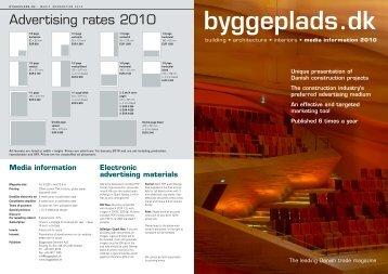 Advertising rates 2010 - Byggeplads.dk