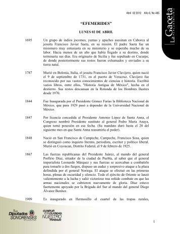 Gaceta Año 6, No 485 - H. Congreso del Estado de Sonora