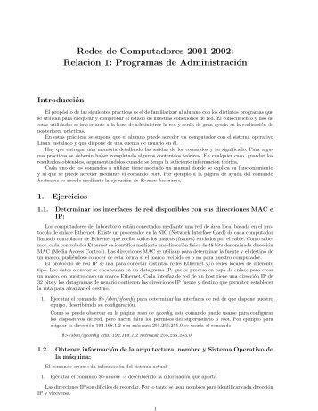 Redes de Computadores 2001-2002: Relación 1: Programas de ...