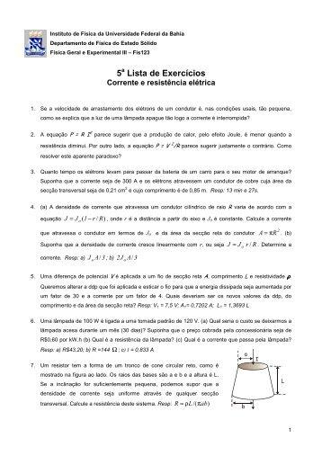 5 a Lista - Instituto de Física da UFBA - Universidade Federal da Bahia