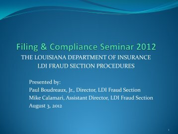 Fraud Section Filings - Louisiana Department of Insurance