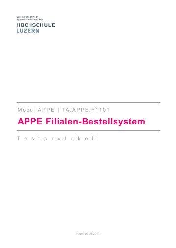 APPE Filialen-Bestellsystem - ThomasGalliker.ch