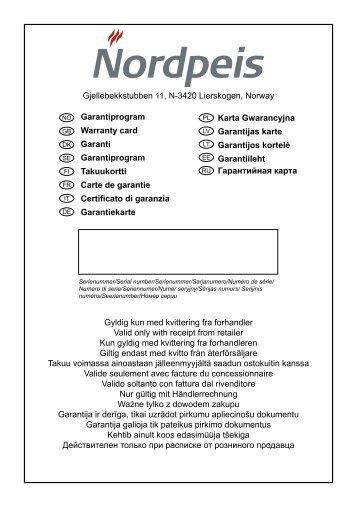 Warranty Card Europe - Nordpeis