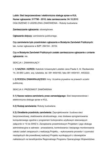 Ogłoszenie o udzieleniu zamówienia - KUL - Biuletyn Informacji ...