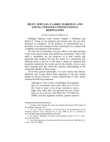 Justice Thomas E. Brennan - Thomas M. Cooley Law School