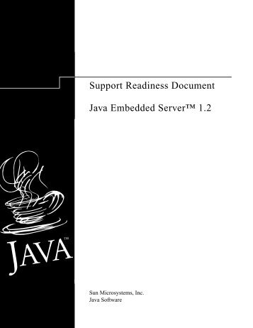 "Support Readiness Document Java Embedded Serverâ""¢ 1.2"