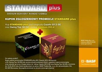 Kupon zgłoszeniowy promocji STANDARD Plus - BASF Polska