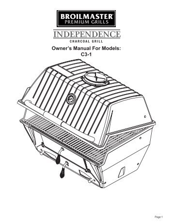 charcoal grill manual broilmaster - Broilmaster