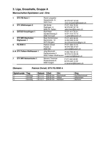 Spielplan für die Meisterschaft - Faustball SATUS Kreuzlingen