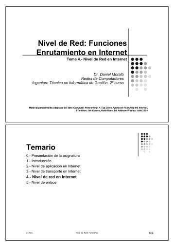 Nivel de Red: Funciones Enrutamiento en Internet